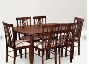 Hometown crystal solid wood 6 seater dining set walnut