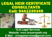 Legal heir certificate-procedure-hyderabad call: 9441239349