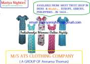 Mariya nightes / cottan nightes for best quality low price meterial three month warrenty