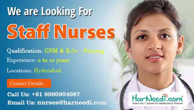 Staff Nurses are Required in Hyderabad