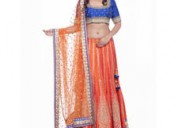 Exclusive collection of orange lehengas at mirraw.com