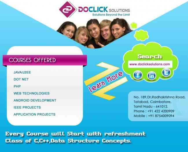 Good PHP,MYSQL Training In Coimbatore At Doclick Solutions with 100% Placement