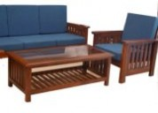 Buy dark brown teak wood sofa 3+1+1 with wooden slates