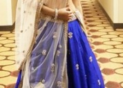 Blue unstitched lehenga choli with dupatta