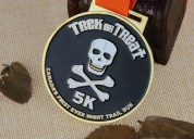 Custom race medals for night trail run-human skele