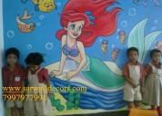 Playschool modern cartoon wall painting