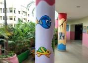 Preschool kids school wall painting in hyderabad