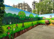 Kids cartoon wall decoration painting in hyderabad