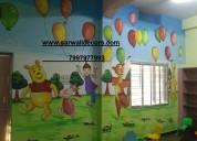 Rainbow cartoon wall painting in hyderabad