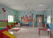 Kindergarten cartoon wall painting in hyderabad