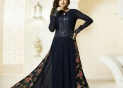 Rk fashions - navy blue color georgette gown