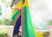 Panchratna multicolor embroidered georgette saree