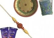 Elegant rudraksha rakhi with beads and off white t