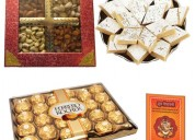 Fancy red dryfruit box with kaju katri and ferrero