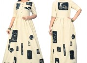 Multi color long anarkali cotton kurti