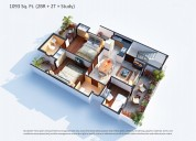 3 bhk with servant room luxury apartment in sector