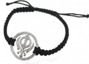 Khanda bracelet in silver with diamonds on nylon t