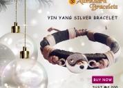 Yin yang tan leather bracelet for men