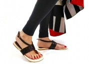 Buy galore black flat sandals for women at paio