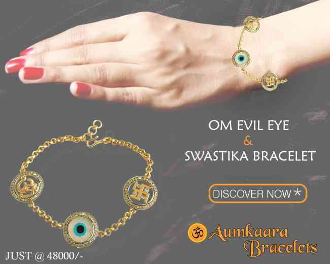 Auspicious Om Evil Eye And Swastika Bracelet In Go