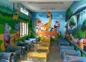 Play school cartoon wall painting in hyderabad