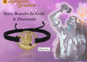 Auspicious shiva bracelet in gold with diamonds on