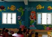 School cartoon wall painting in hyderabad