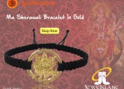 Auspicious mata bracelet in gold on adjustable thr