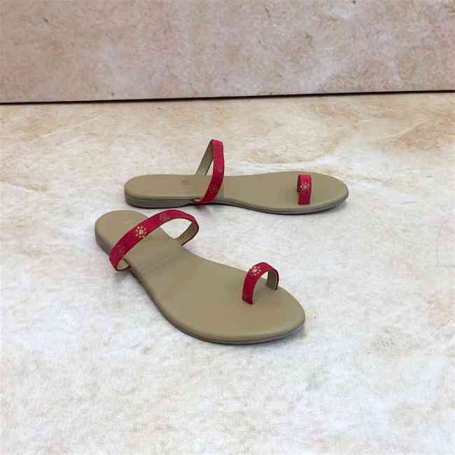Buy Zari Red Flat Sandals for Women at PAIO Shoes