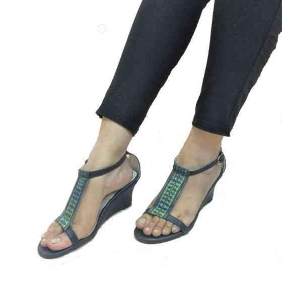 Buy Heather Navy Blue Fabric Wedge Heels Sandal