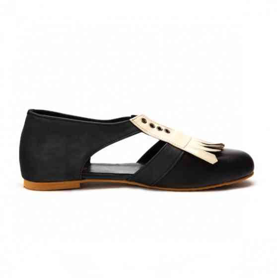 Buy Manny Brown And Beige Derby Oxford Flat Shoes
