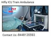 Get low-cost icu train ambulance in delhi by hifly