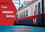 Hifly icu train ambulance from ranchi to delhi at
