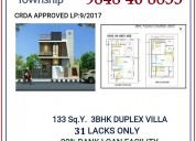 3bhk duplex villa for 31 lacks only. a well gated