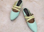 Buy sophia green flat mule slip ons for women