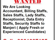 Wanted accountant , billing staffs ,sales staffs