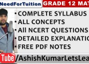Grade 12 maths - ashish kumar let's learn