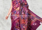 Get 100 cotton kantha stitch saree at rapurnas.com
