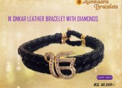 Ik onkar leather bracelet with diamond