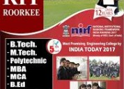Rit roorkee, admission open for b.tech mechanical
