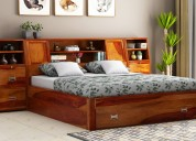 Purchase premium wooden queen size bed online at w