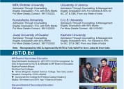 Direct admission in b.ed and jbt (from haryana)