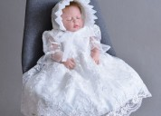 Rose baptism dress & cap for girls at heavenlybon
