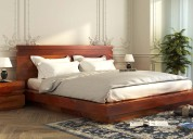 Order online wooden queen size bed & get upto 55%