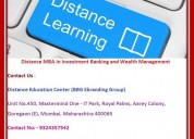 Distance mba in investment banking and wealth