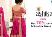 Flat 70% off tussar embroidery sarees