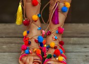 Ladies designer gladiator pompom leather sandals m