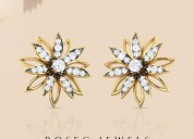Two tone sunflower diamond stud earring
