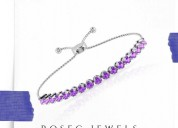 Amethyst tennis adjustable bracelet