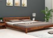 Get platform bed designs online - wooden street
